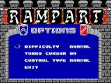 Rampart SEGA Master System Options screen