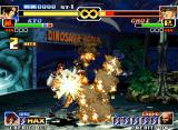 The King of Fighters '99: Millennium Battle Neo Geo With the impact of his new flaming DM 182 Shiki, Kyo Kusanagi connects a 2-hit combo in Choi Bounge.