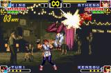 The King of Fighters EX: Neo Blood Game Boy Advance Practice Mode match: while Yuri are making a cool pose, King trains her DM Silent Flash in Athena...