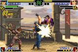 The King of Fighters EX: Neo Blood Game Boy Advance Helped by Whip and her swinging combat weapon, Clark hits Robert with 3 hits of his Gatling Attack.