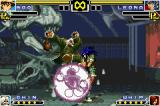 The King of Fighters EX: Neo Blood Game Boy Advance Leona blocking a joint offensive formed by Bao's Psycho Ball Crash: Reflect and Chin's striker move.