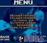 Ultimate Soccer Game Gear Main menu