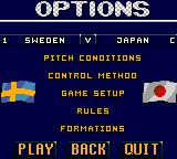 Ultimate Soccer Game Gear Options screen