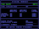 SimCity Amstrad CPC Budget screen