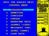 Into the Eagle's Nest ZX Spectrum Main menu