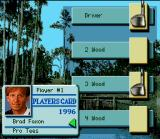 PGA Tour 96 SNES Selecting a PGA player.