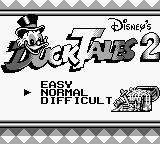 Disney's DuckTales 2 Game Boy Title Screen
