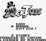 Disney's DuckTales Game Boy Title screen / Main menu.
