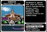 Where in the World is Carmen Sandiego? Apple II Bangkok introduction; select an action from the menu in the lower right
