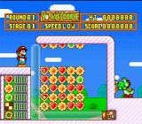 Yoshi's Cookie SNES Action Mode: Line up same types of cookies either horizontally or vertically to clear the screen and advance to the next round