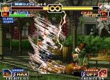 The King of Fighters '99: Millennium Battle Neo Geo Choi's SDM Super Tornado Vacuum Slice is about to hit a feet-arrested Chin Gentsai: what a bad luck!