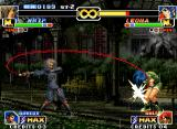 The King of Fighters '99: Millennium Battle Neo Geo Whip Shot move: using her swinging combat weapon, Whip could connect a single-accurate hit in Leona.