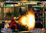 The King of Fighters '99: Millennium Battle Neo Geo Ryo (helped by Xiangfei) attacks K' with his SDM Haou Shou Ko Ken, but he escapes using a high jump.