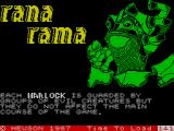 Rana Rama ZX Spectrum Plot and gameplay information spools as it loads