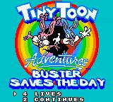 Tiny Toon Adventures: Buster Saves the Day Game Boy Color Option Menu:  Choose number of lives and continues to start with.  Also you can sample the different music and SFX