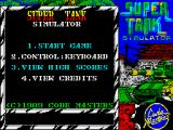 Super Tank Simulator ZX Spectrum Main menu