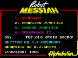 Robot Messiah ZX Spectrum Main menu