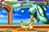 Super Street Fighter II: Turbo Revival Game Boy Advance Cammy confuses Guile after attacking him using a sweep.