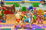 Super Street Fighter II: Turbo Revival Game Boy Advance Zangief makes the first attack of the battle against T. Hawk: his Banishing Flat.