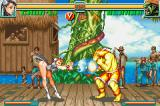 Super Street Fighter II: Turbo Revival Game Boy Advance Blanka assumes his guard position to decrease a lot of Chun-Li's Kikoken damage.