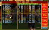 Ultimate Soccer Manager DOS Team selection