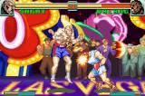 Super Street Fighter II: Turbo Revival Game Boy Advance Balrog avoids Sagat's Tiger Shot using his Buffalo Headbutt as counter-attack.