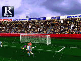 Sega Worldwide Soccer '97 Windows volleying the ball in
