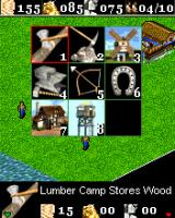 Age of Empires II Mobile J2ME Create building menu. Select the building to create and press confirmation softkey to start it (Sony Ericsson K700 version)