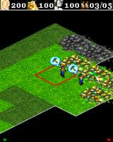 Age of Empires II Mobile J2ME Peasants harvest gold. If you build a mining camp close to it, it should be much more efficient (Sony Ericsson K700 version)