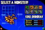 Godzilla: Domination! Game Boy Advance Choosing a monster-fighter.