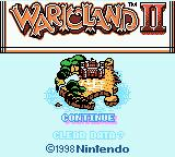 Wario Land II Game Boy Color Start screen