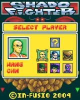 Shado Fighter J2ME Character selection menu, the ? is the hidden character Shado which will unlocked when you defeat him with all the other characters (Motorola V3 version)