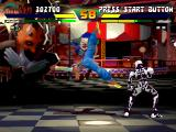 Street Fighter EX Plus Alpha PlayStation Being situated at a safe distance, Skullomania is not risked to be damaged by Pullum's Prim Kick.