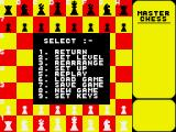 Master Chess ZX Spectrum Menu options
