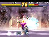 Street Fighter EX 2 Plus PlayStation During the Super Combo Great Cancer, Area uses her engaged machine gun to multi-hit the opponents.