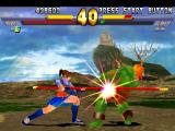 Street Fighter EX 2 Plus PlayStation Nanase hits Blanka's belly using a single hit of her cane-based move Sanren Kon.