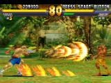 "Street Fighter EX 2 Plus PlayStation Sagat throwing his projectile-based Super Combo Tiger Cannon in direction to a ""static"" Dhalsim."