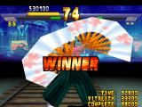 Street Fighter EX 2 Plus PlayStation Carrying a double of big fans, Hokuto makes one of her winning poses.
