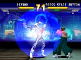 "Street Fighter EX 2 Plus PlayStation Hokuto does her defensive position to block Skullomania's ""Ki'""-based Super Combo Skullo Energy."