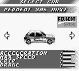 V-Rally: Championship Edition Game Boy Car Selection