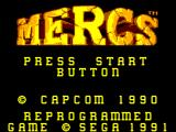 Mercs SEGA Master System Title screen
