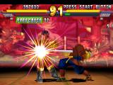 Street Fighter EX 2 Plus PlayStation Darun Mister being damaged by Garuda's chest-clawing-multi-hit special move Shuga.