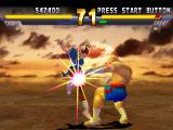 Street Fighter EX 2 Plus PlayStation Chun-Li takes advantage of Sagat's vulnerability after his Tiger Shot and attacks with a Hien Shuu.