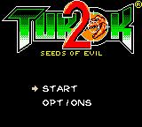 Turok 2: Seeds of Evil Game Boy Color Title screen / Main menu.