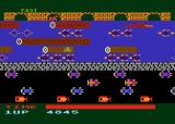 Frogger Atari 8-bit On a log attempting to cross the river
