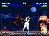 Mortal Kombat Trilogy PlayStation An surprise attack: Ermac connects successfully his single hit move Teleport Punch in MKI Kano.