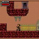 Tomb Raider: Quest for Cinnabar ExEn The game is a side scrolling game where the goal is to reach the final door of the level. Here it is above, you will have to find a way to reach it.