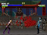 Mortal Kombat Trilogy PlayStation Mileena finishes off Classic Sub-Zero spitting at full speed a countless set of blooding nails.