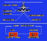 Airwolf NES Weapon Selection Screen