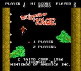 The Legend of Kage NES Title Screen